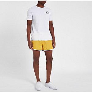 Yellow stripe side short swim trunks