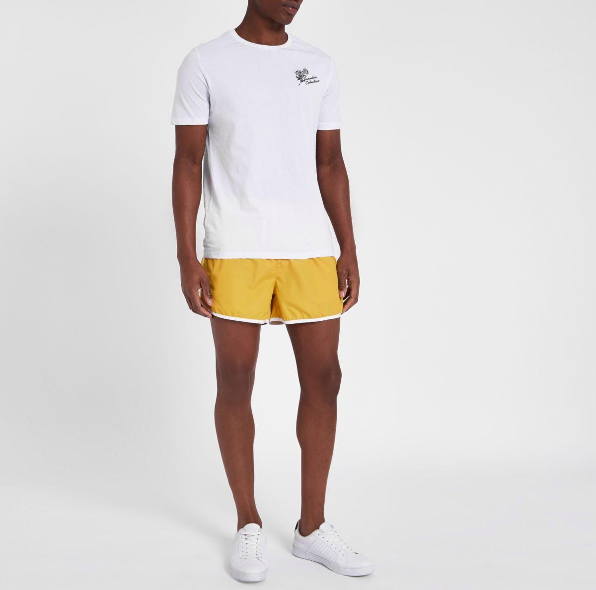 Yellow stripe side short swim shorts