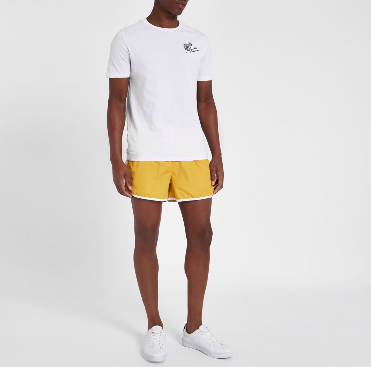 Yellow stripe side short swim trunks