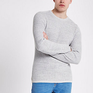 Grey rib muscle fit crew neck jumper