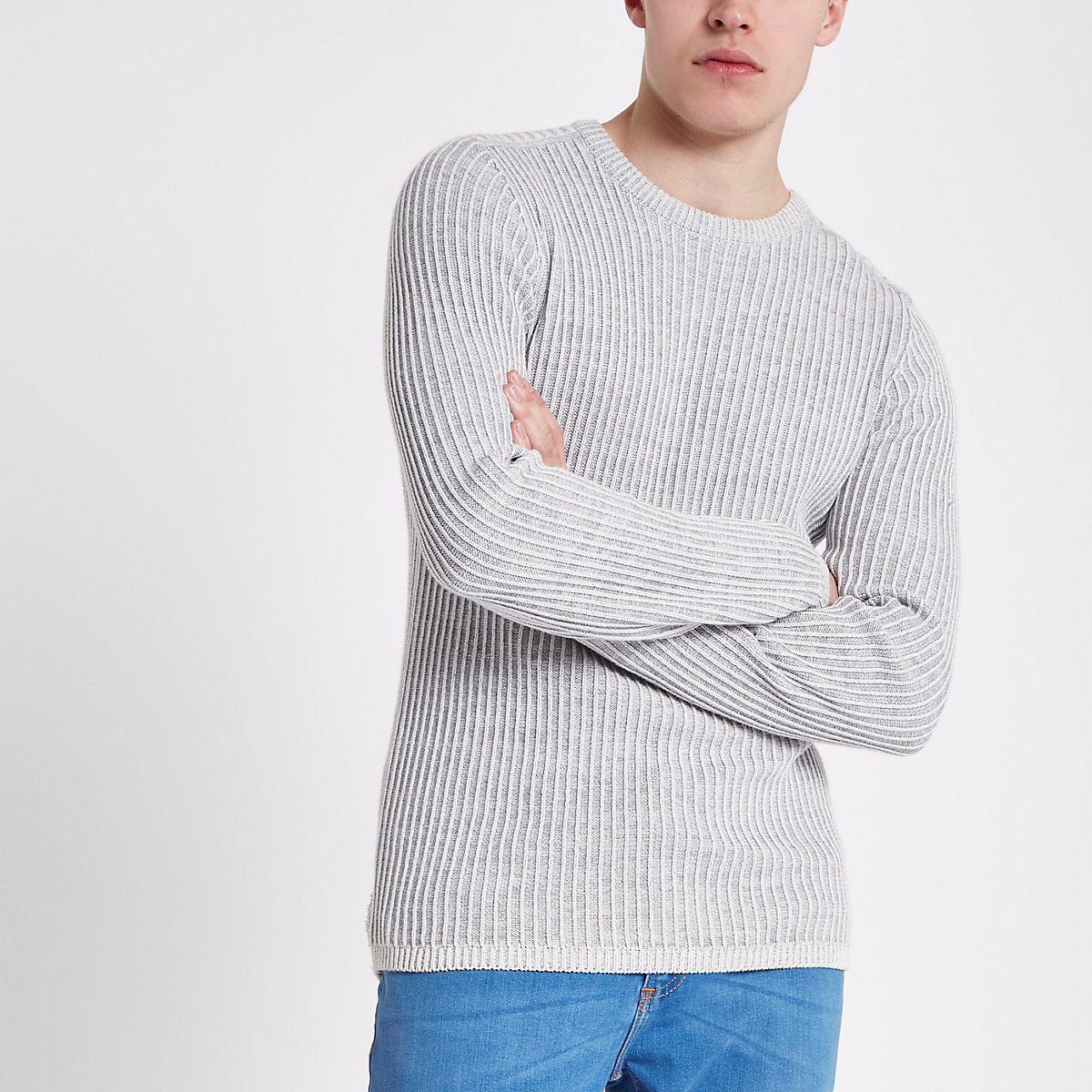 Grey rib muscle fit crew neck sweater