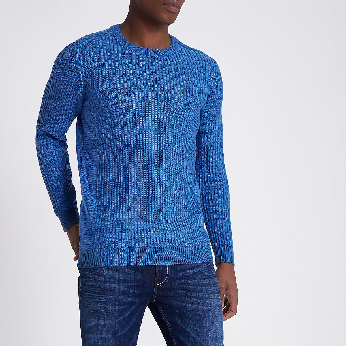 Blue rib knit muscle fit sweater