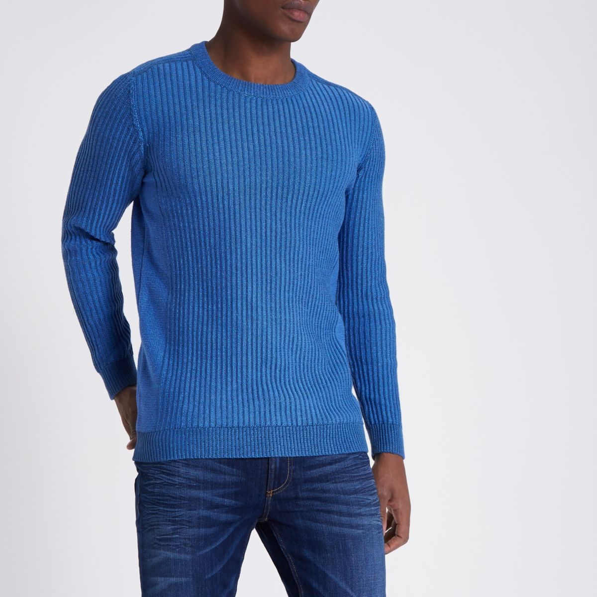 Blue rib knit muscle fit jumper
