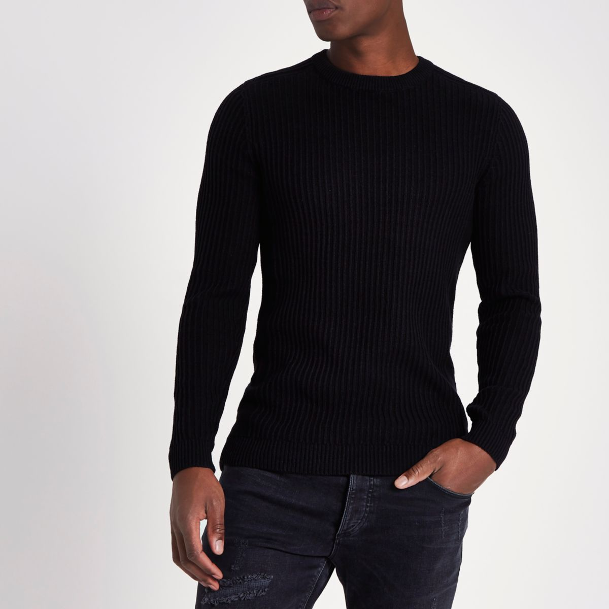 Black rib muscle fit crew neck sweater