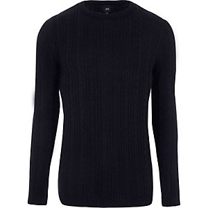 Marineblauer Muscle Fit Pullover mit Zopfmuster