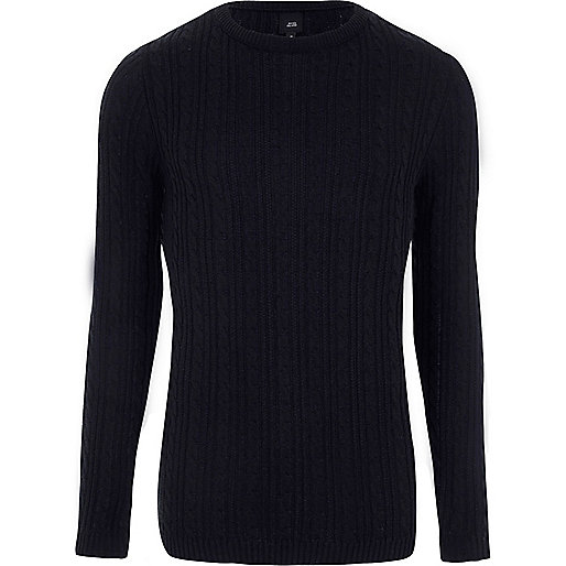 Navy cable knit Muscle fit sweater