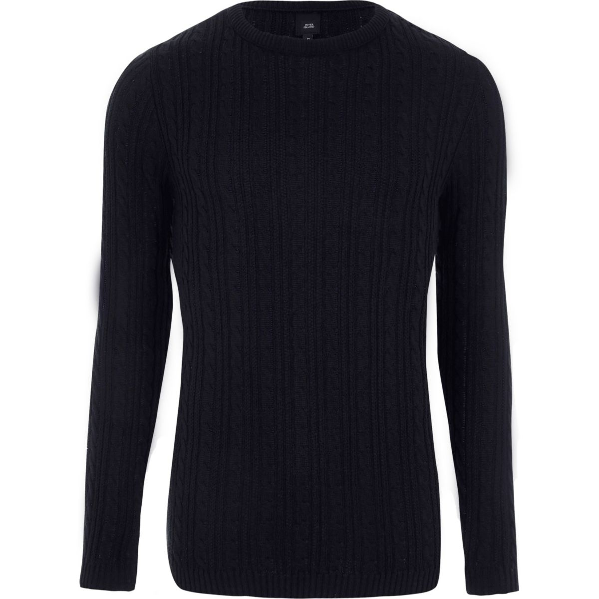 Navy cable knit Muscle fit jumper