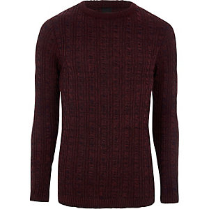 Muscle Fit Pullover in Bordeaux mit Zopfmuster