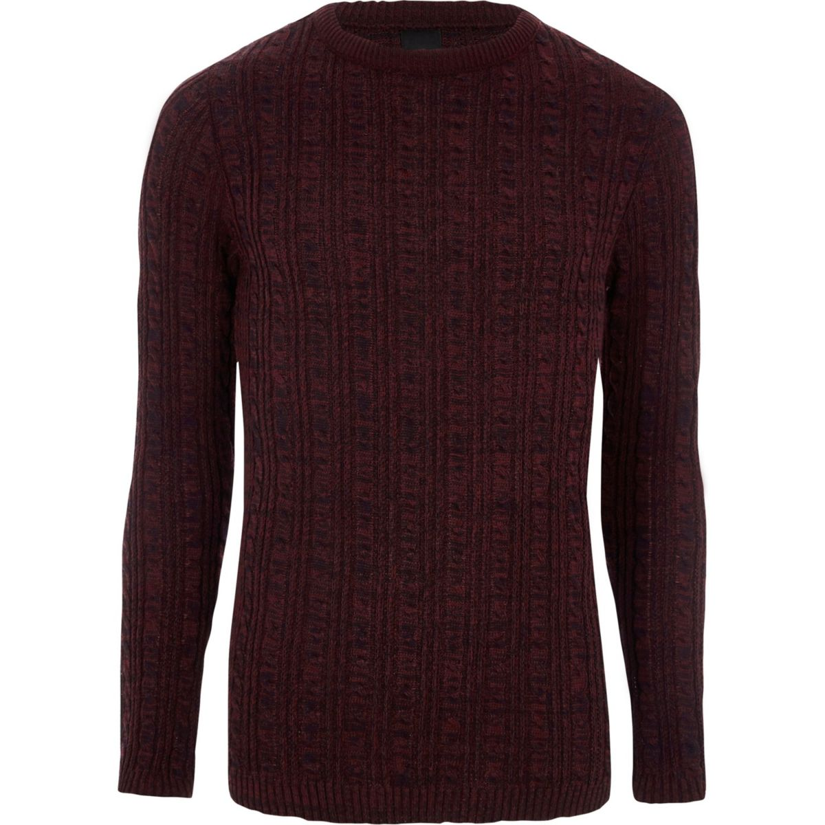 Burgundy cable knit muscle fit jumper
