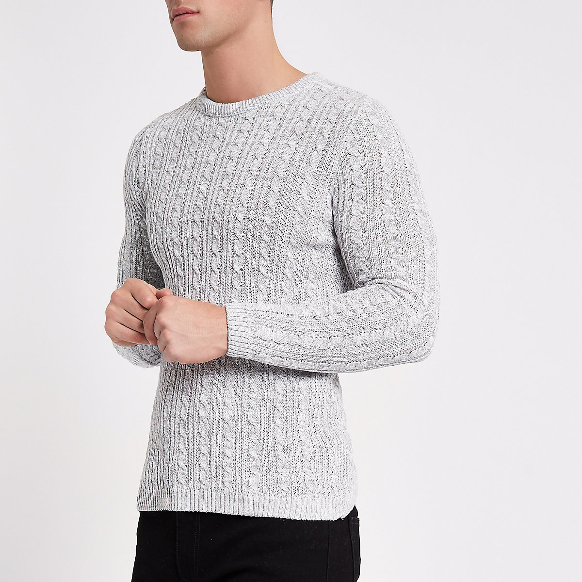 Grey muscle fit cable knit jumper