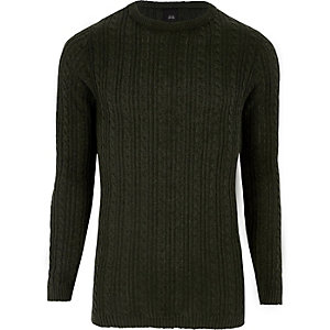 Dark green cable knit muscle fit sweater
