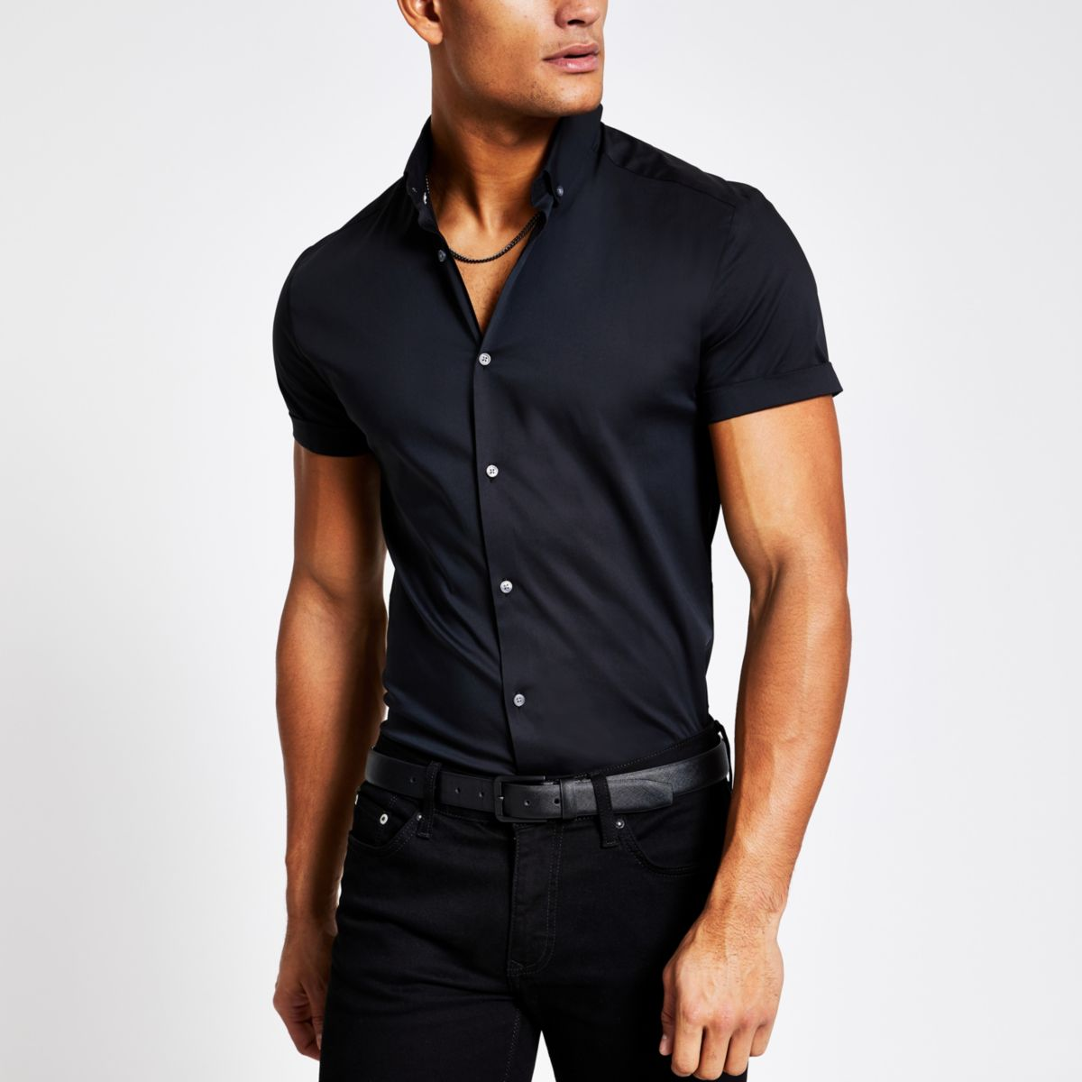 River island mens black muscle fit short sleeve shirt for Mens black short sleeve dress shirt