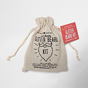 Men's Society radiantly red glitter beard kit