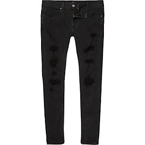 Black Ollie rip super skinny spray on jeans