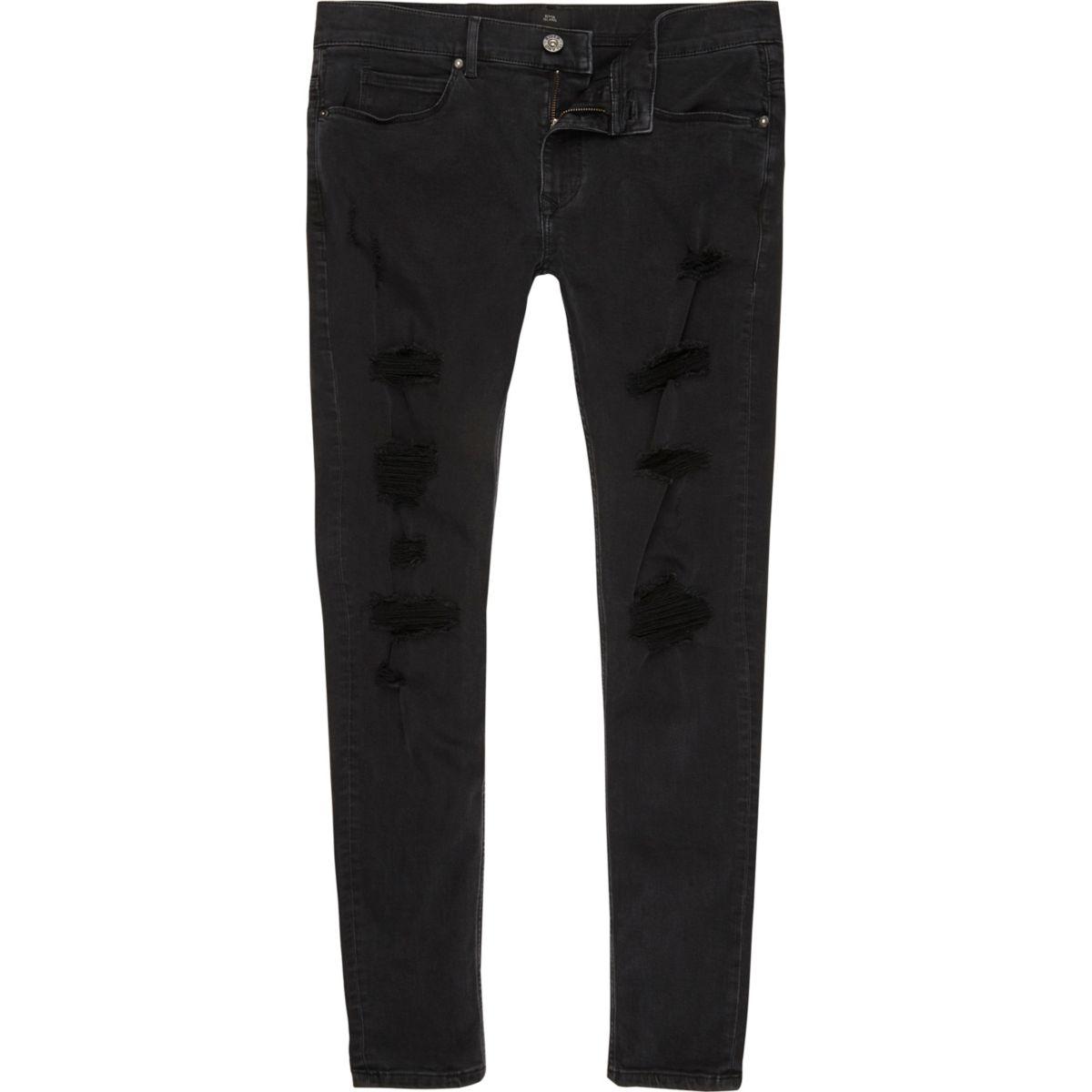 Ollie – Schwarze Super Skinny Spray-on-Jeans