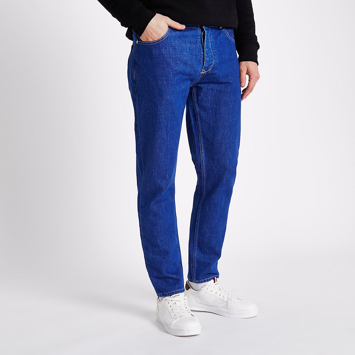 Bright blue Jimmy tapered leg jeans