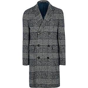 Manteau croisé habillé à carreaux gris