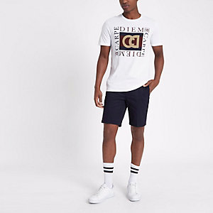 Navy slim fit belted chino shorts