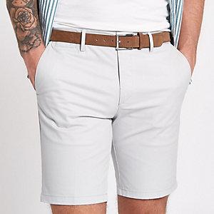 Light grey belted chino shorts