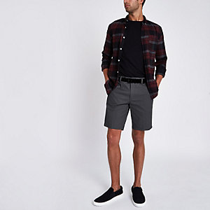 Dunkelgraue Slim Fit Chino-Shorts