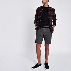Short chino slim gris foncé à ceinture