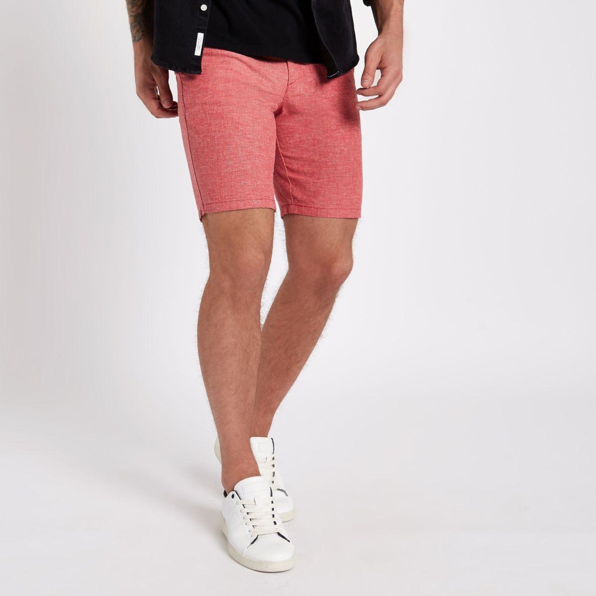 Coral slim fit Oxford chino shorts