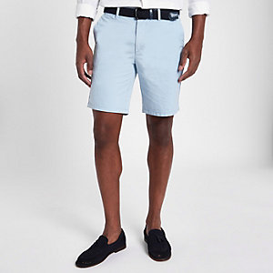 Short chino Oxford slim bleu clair