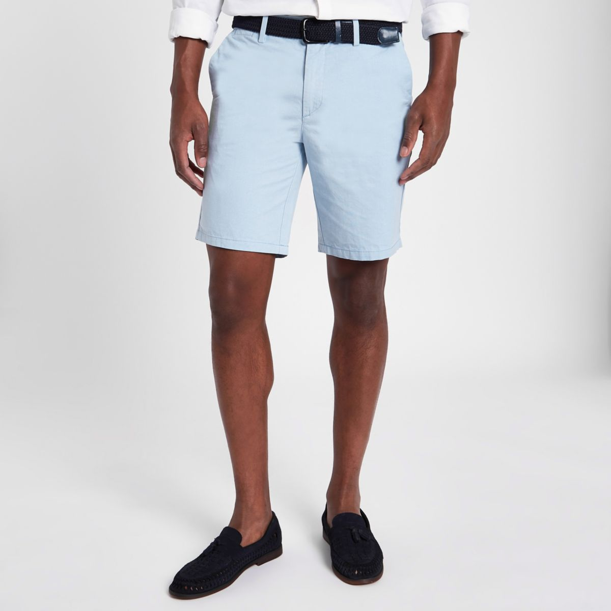 Light blue slim fit Oxford chino shorts