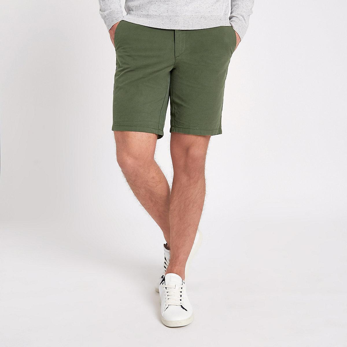 Dark green slim fit Oxford chino shorts