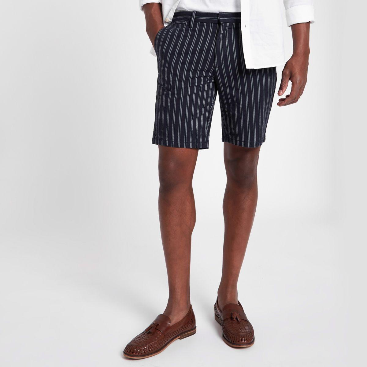 Navy stripe slim fit chino shorts
