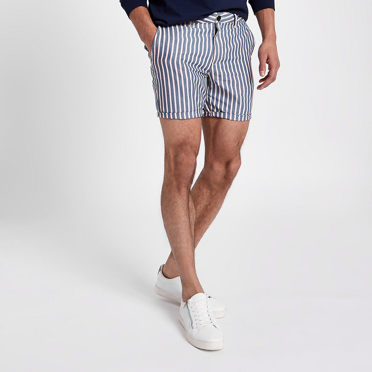 Navy stripe slim fit chino shorts