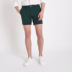 Short chino slim rayé vert