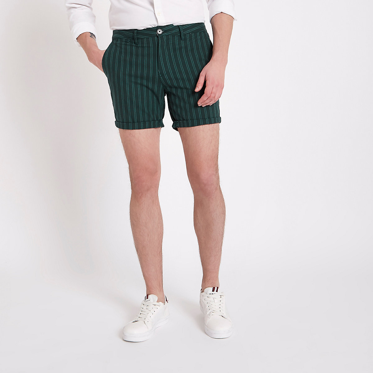 Green stripe slim fit chino shorts