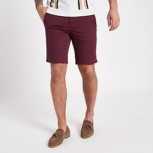 Burgundy slim fit chino shorts