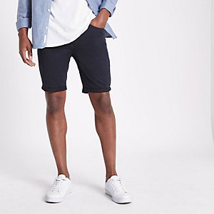 Marineblaue Skinny-Fit-Chinoshorts