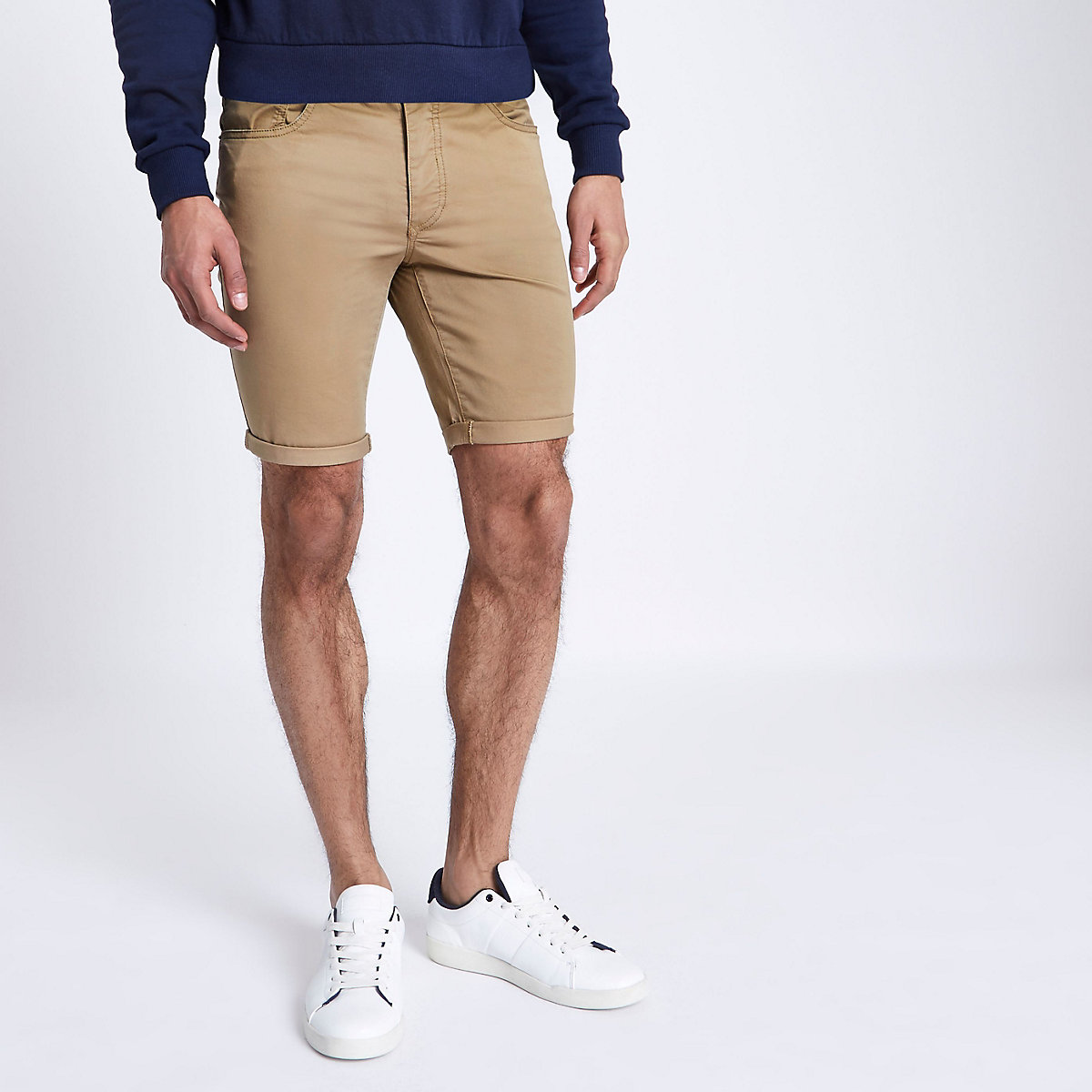 Tan skinny fit chino shorts