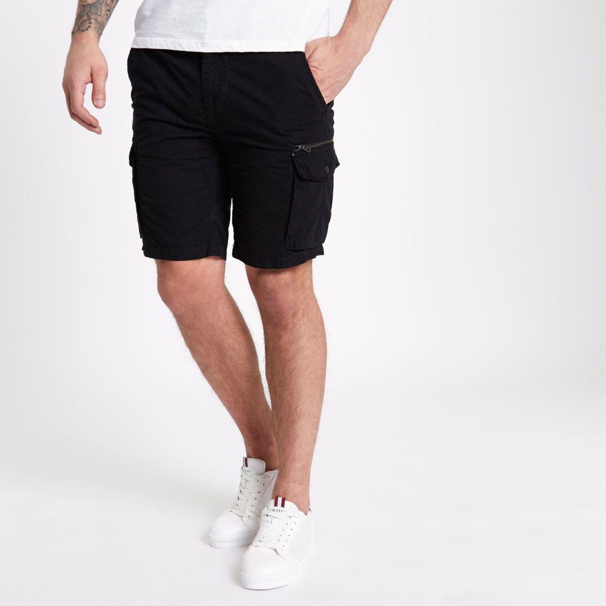 black slim fit cargo shorts casual shorts shorts men