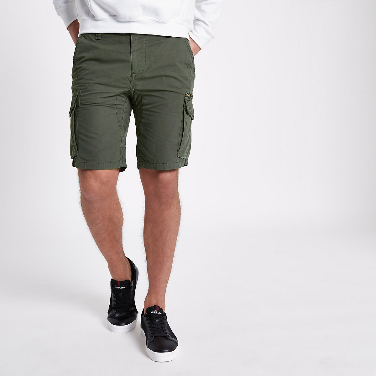 Khaki green slim fit cargo shorts