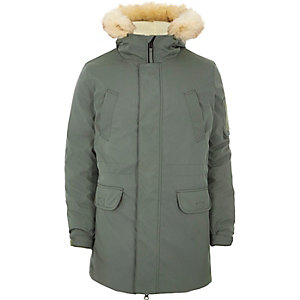 Sage green faux fur trim hooded parka