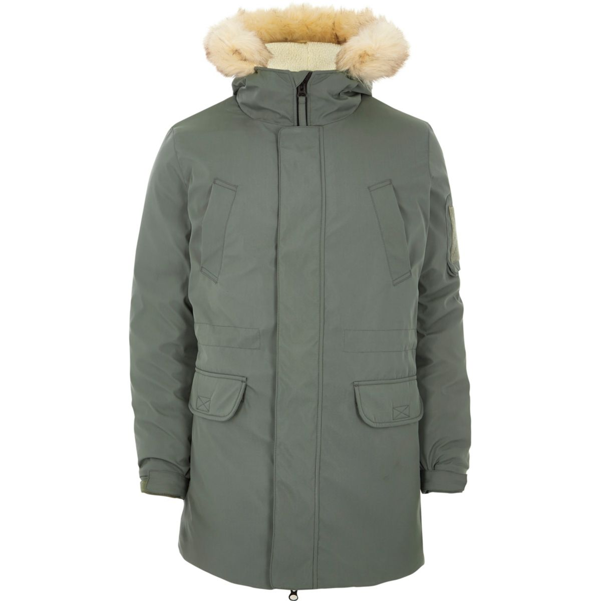Sage green faux fur trim hooded parka