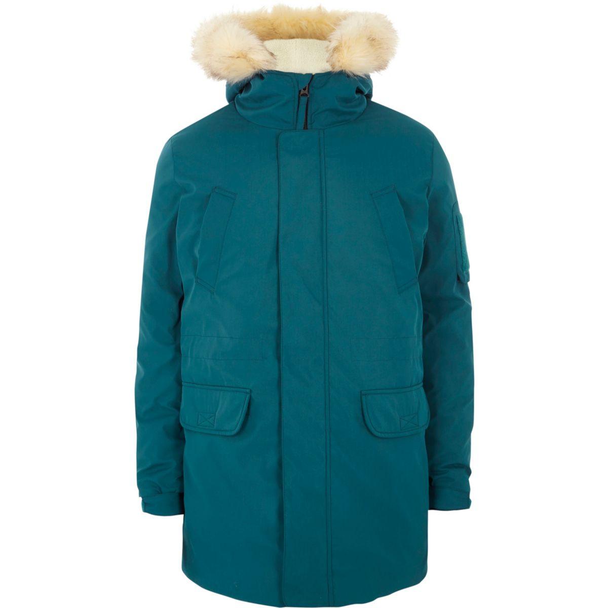 Teal blue green faux fur trim hooded parka