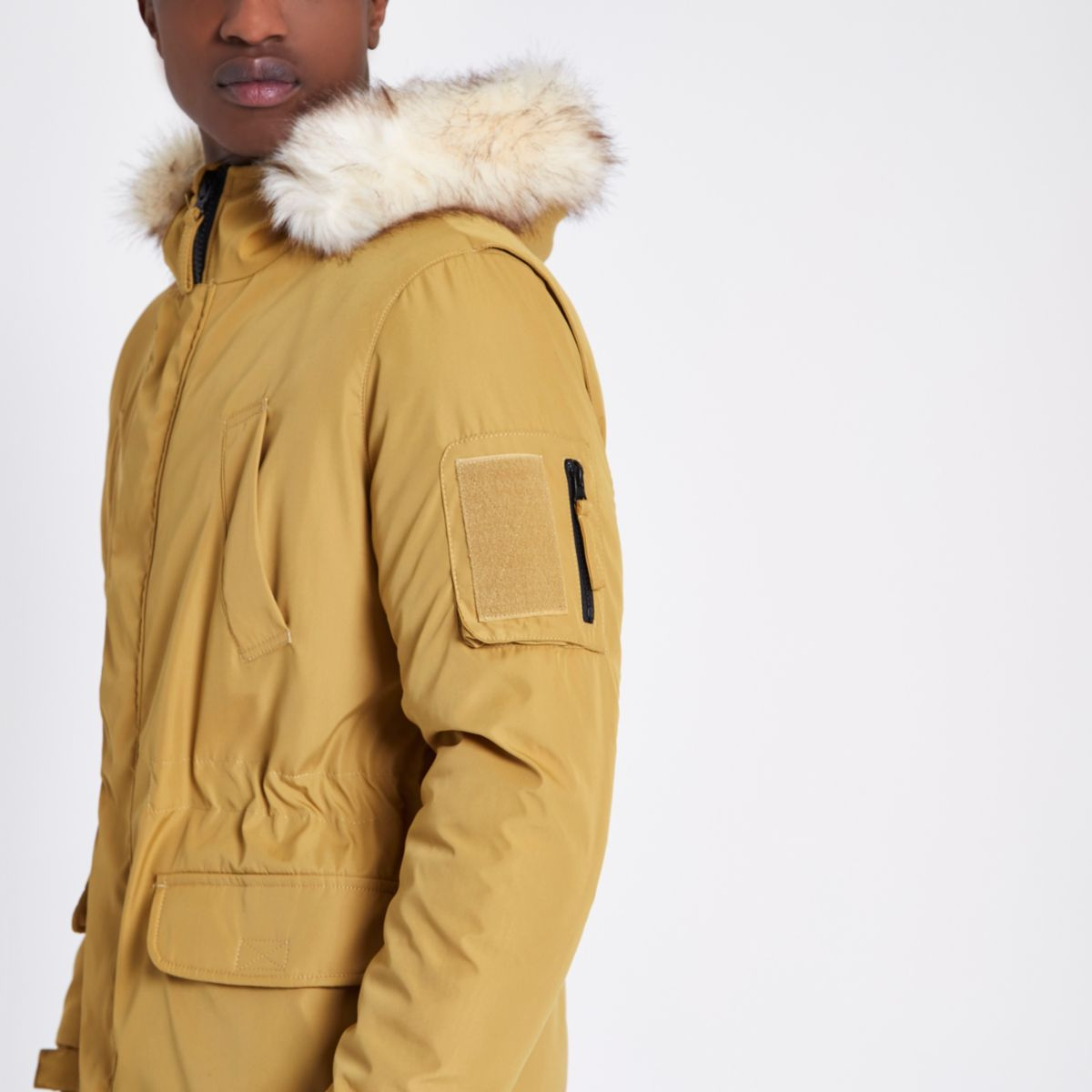 Mustard yellow faux fur trim hooded parka