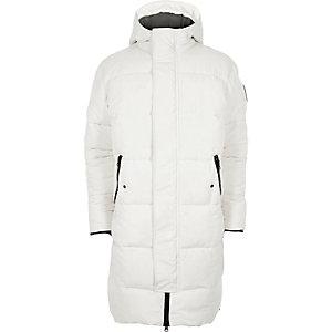 Witte lange gewatteerde jas met capuchon