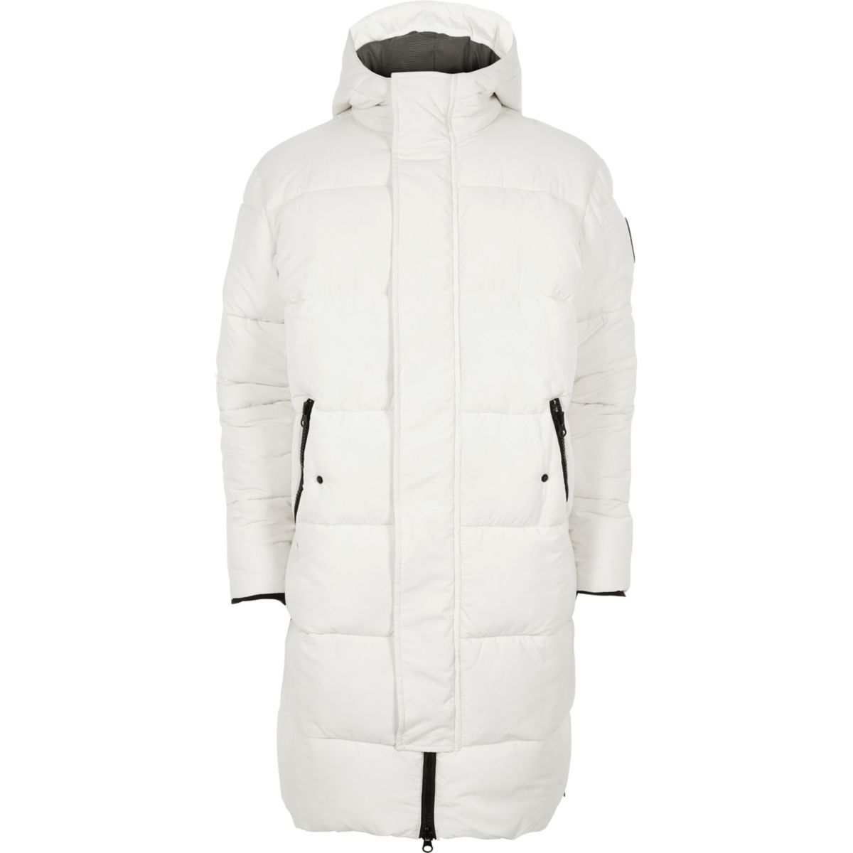 White longline hooded puffer coat