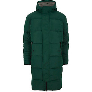 Dark green longline hooded puffer coat