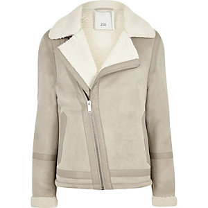 Light grey fleece lined biker jacket