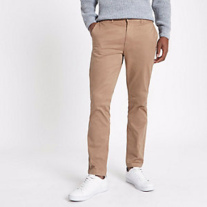 Pantalon chino slim marron fauve