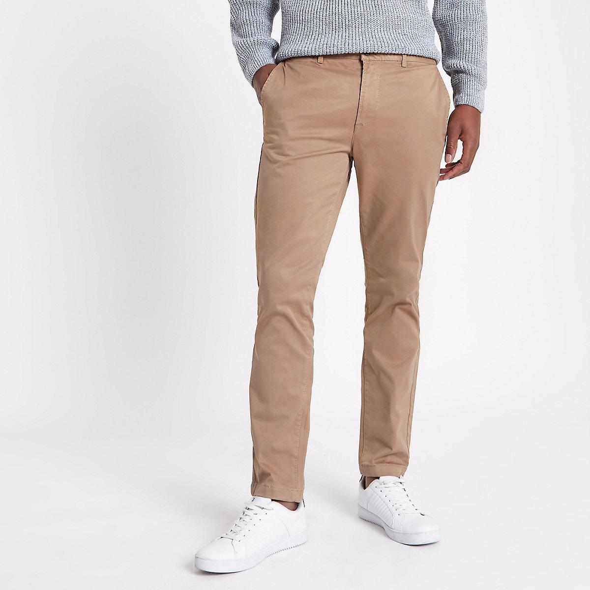 Tan brown slim fit chino pants