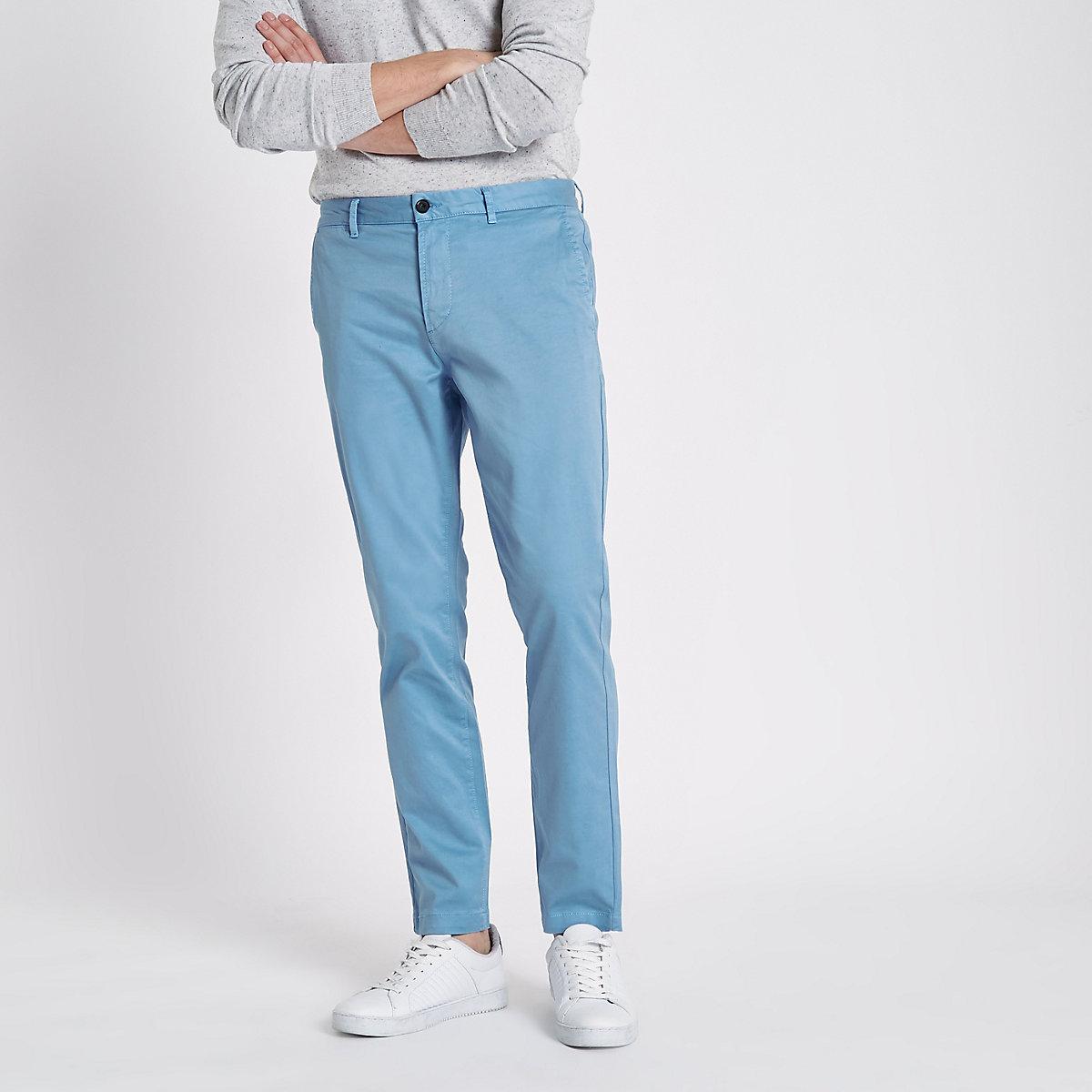 Light blue slim fit chino pants