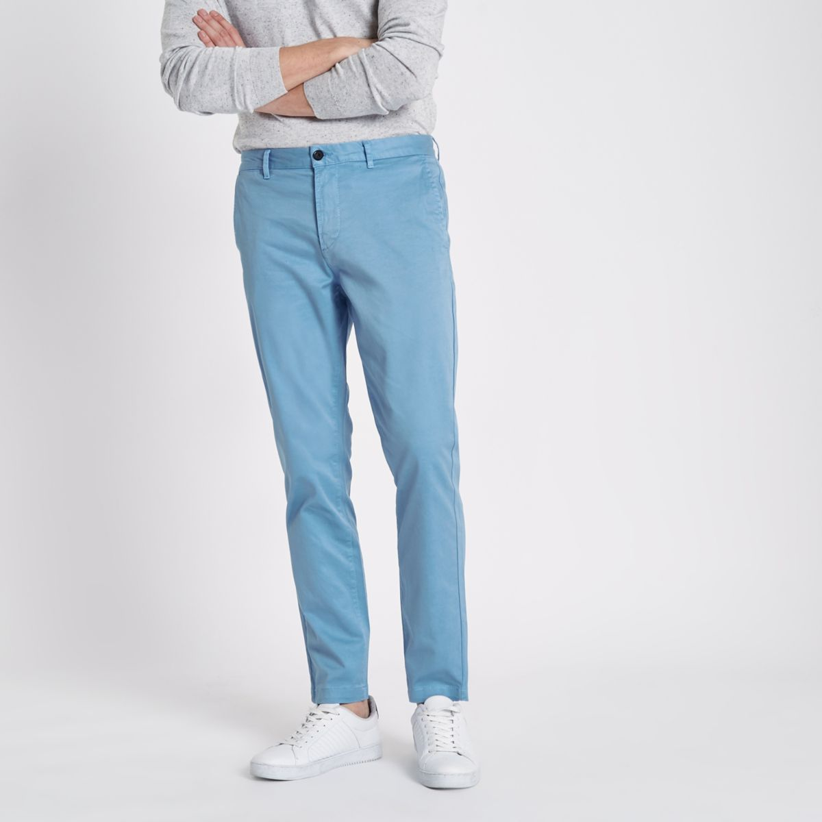 Light blue slim fit chino pants